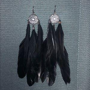 Black Feather Dreamcatcher Earrings